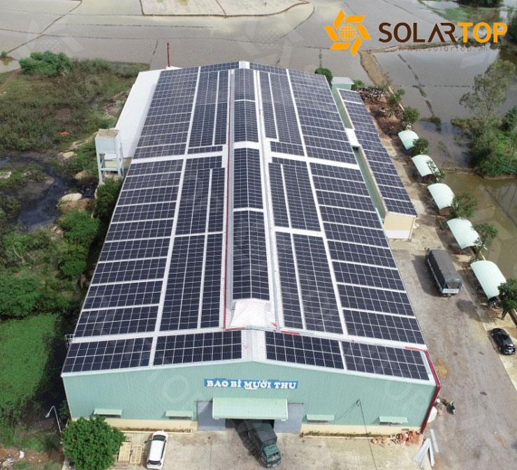 Dự án điện mặt trời áp mái tại nhà xưởng bao bì carton Mười Thu - Bình Định